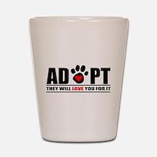 Adopt Paw Print Shot Glass