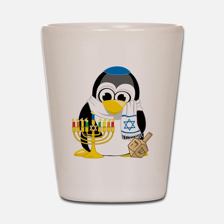 Hanukkah Scarf Penguin Shot Glass