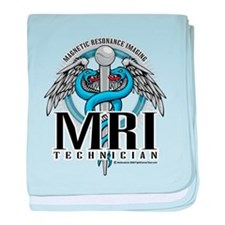 MRI Tech Caduceus Blue baby blanket