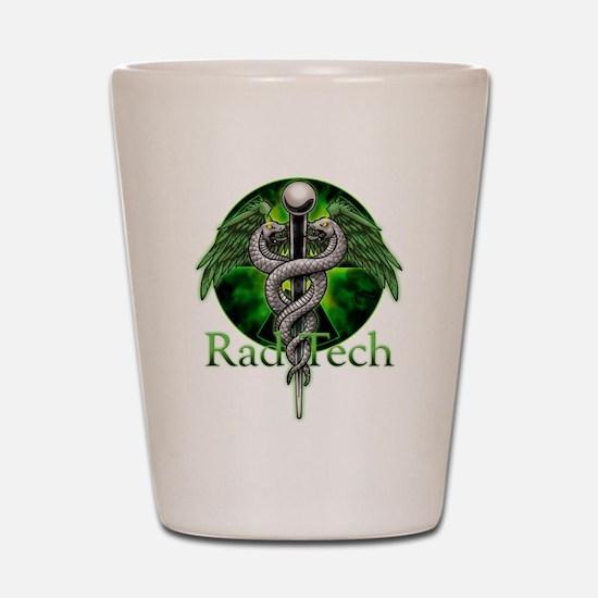 Rad Tech Caduceus Green Shot Glass
