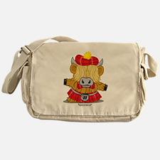 Highland Cow Red Kilt Messenger Bag