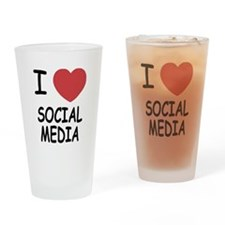 I heart social media Drinking Glass