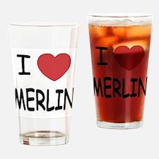 I heart Merlin Drinking Glass
