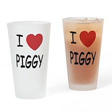 I heart Piggy Drinking Glass