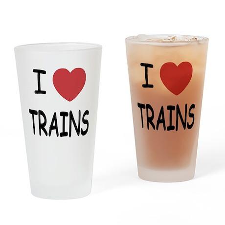 I heart trains Drinking Glass