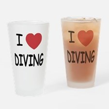 I heart diving Drinking Glass
