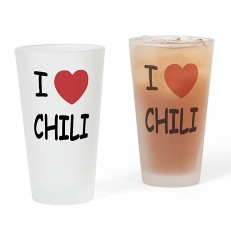 I heart chili Drinking Glass