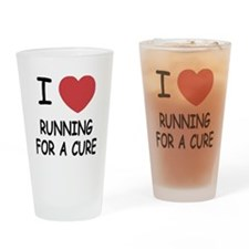 I heart running for a cure Drinking Glass
