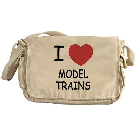 I heart model trains Messenger Bag