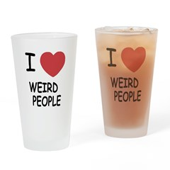 I heart weird people Drinking Glass