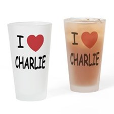 I heart charlie Drinking Glass
