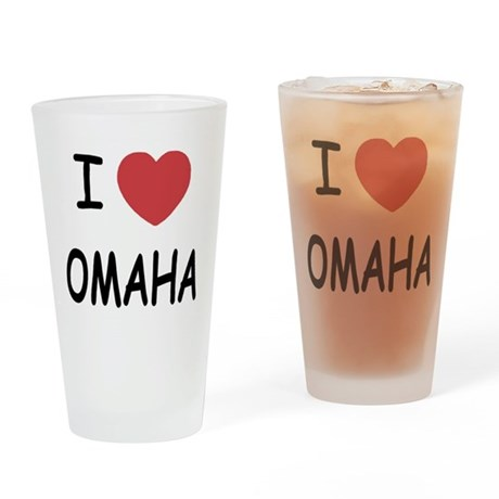 I heart omaha Drinking Glass