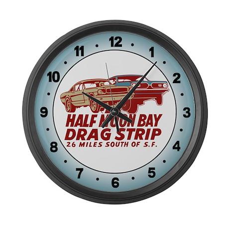 Half Moon Bay Drag Strip Large Wall Clock