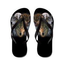 Cute Wolf and moon Flip Flops
