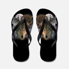 Funny Wolf and moon Flip Flops