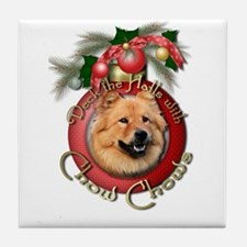 Christmas - Deck the Halls - Chows Tile Coaster