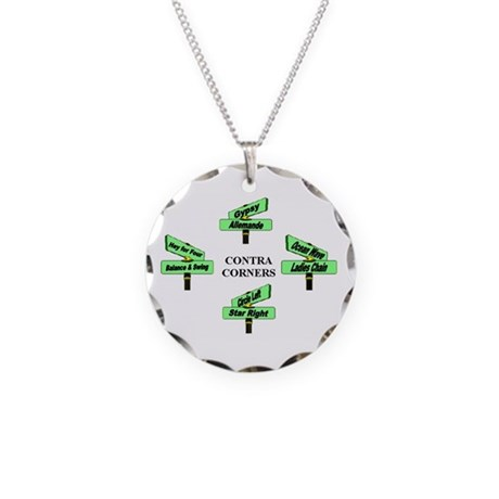 Contra Corners Necklace Circle Charm