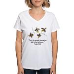 Fireflies & Bible Scripture Women's V-Neck T-Shirt