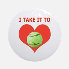 Softball, I Take It To Heart Ornament (Round)