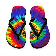 Bright Tie-Dye Flip Flops