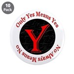 "Only Yes Means Yes 3.5"" Button (10 pack)"