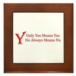 Only Yes Means Yes Slogan Framed Tile