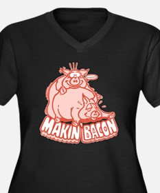 Makin Bacon Pigs Women's Plus Size V-Neck Dark T-S