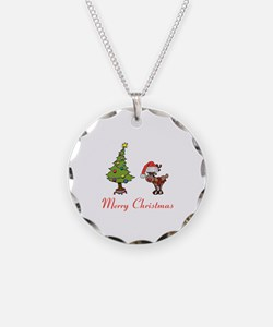Reindeer and Christmas Tree Necklace