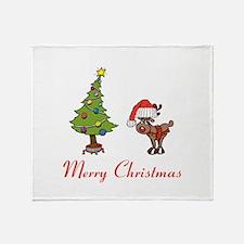 Reindeer and Christmas Tree Throw Blanket
