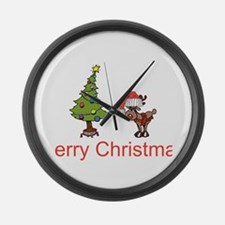 Reindeer and Christmas Tree Large Wall Clock
