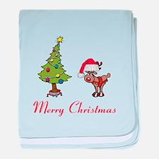 Reindeer and Christmas Tree baby blanket