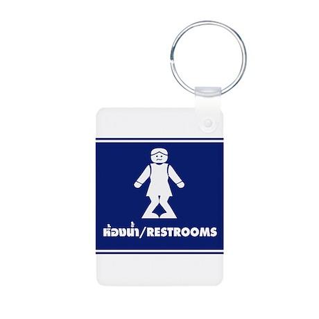 Funny Thai Toilet Sign Aluminum Photo Keychain