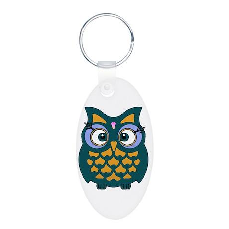 Retro Owl Aluminum Oval Keychain