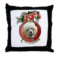 Christmas - Deck the Halls - Poodles Throw Pillow