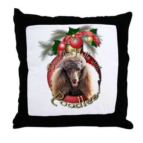 Christmas - Deck the Halls - Poodles Throw Pillow