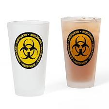 Yellow & Black Biohazard Drinking Glass