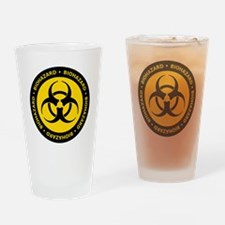 Yellow & Black Biohazard Drinking Glass