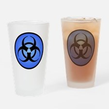 Blue Biohazard Symbol Drinking Glass