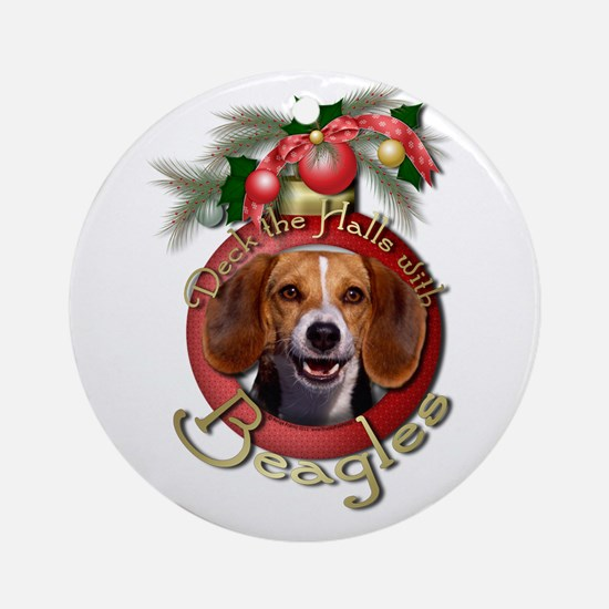 Christmas - Deck the Halls - Beagles Ornament (Rou