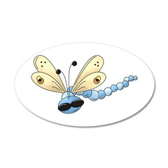 Cool Blue Dragonfly 38.5 x 24.5 Oval Wall Peel