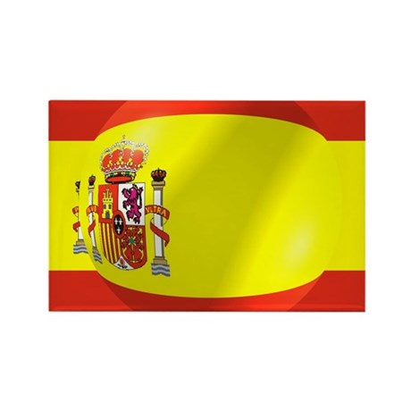 Spanish Flag With Bubble Rectangle Magnet