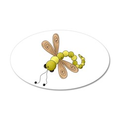 Adorable Green Dragonfly 22x14 Oval Wall Peel