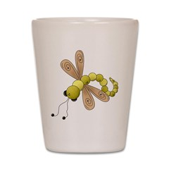 Adorable Green Dragonfly Shot Glass
