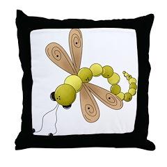 Adorable Green Dragonfly Throw Pillow