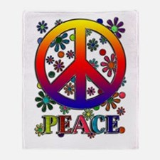 Retro Peace Sign & Flowers Throw Blanket