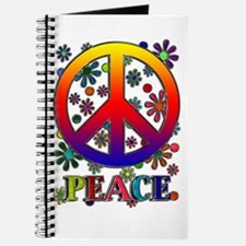 Retro Peace Sign & Flowers Journal