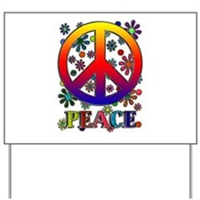 Retro Peace Sign & Flowers Yard Sign