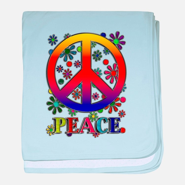 Retro Peace Sign & Flowers baby blanket