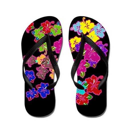 Bright Hibiscus on Black Flip Flops