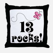 13th Birthday Butterfly Throw Pillow